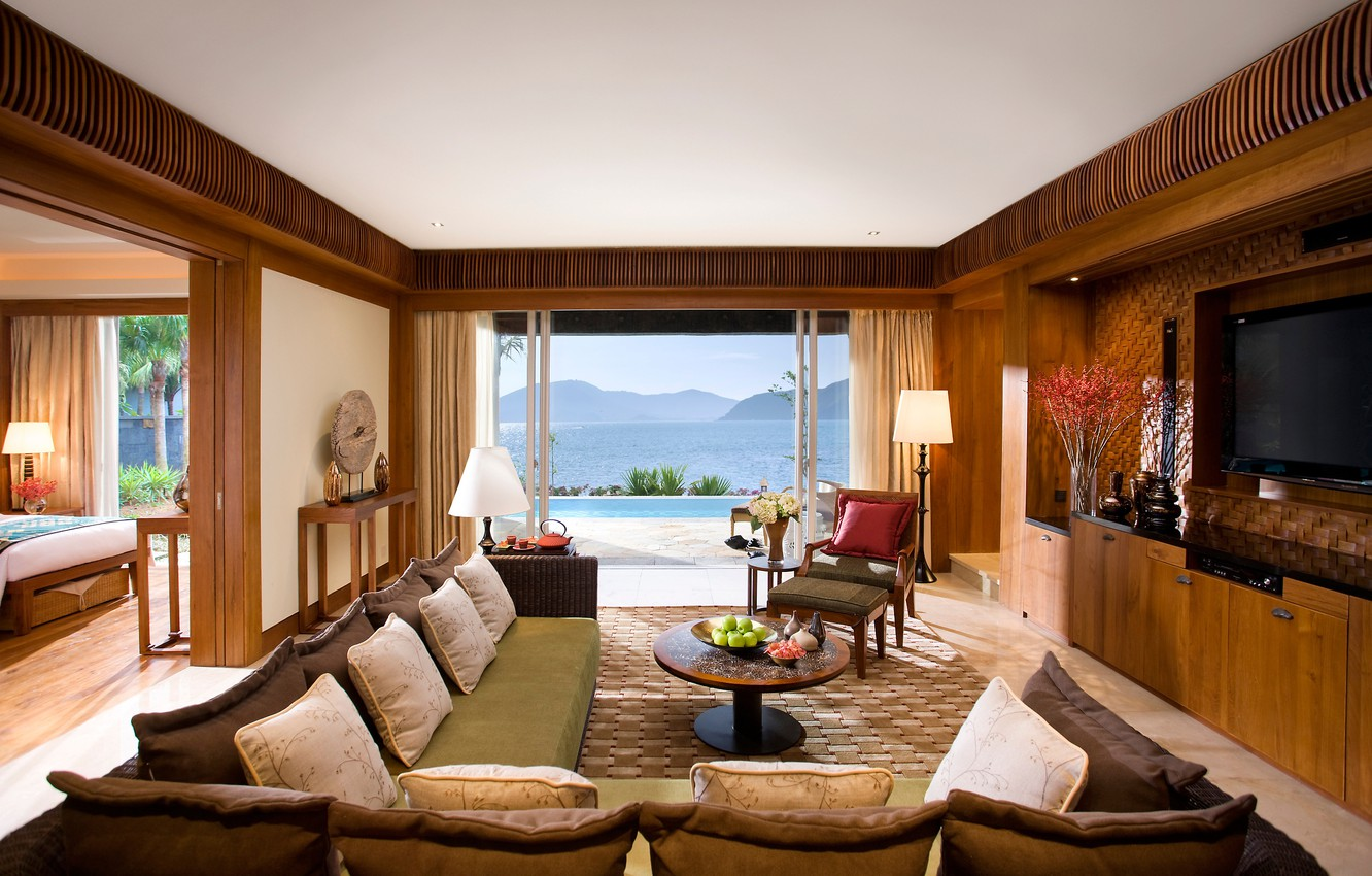 Photo wallpaper sea, mountains, house, room, sofa, bed, pillow, pool, TV, chairs, bedroom, landscape.