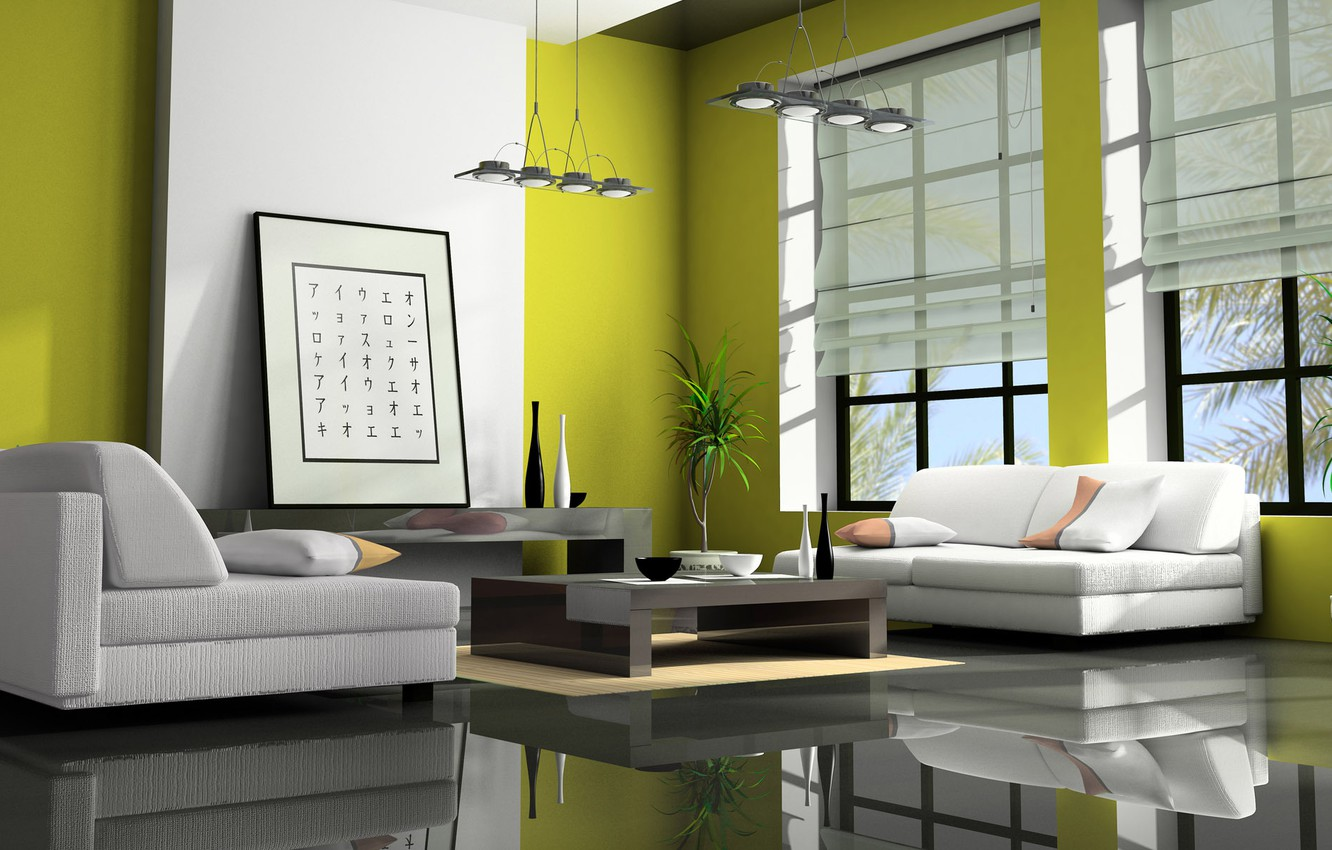 Photo wallpaper flower, green, style, table, room, picture, window, characters, vase, Asian interior