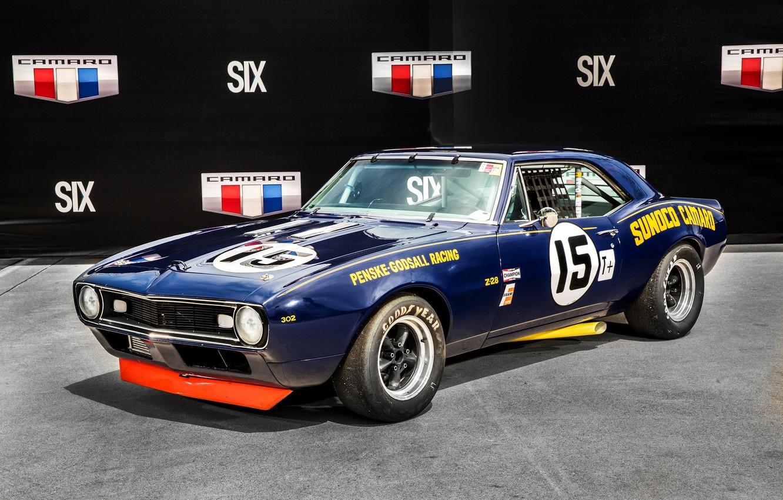 Photo wallpaper Chevrolet, Camaro, Chevrolet, 1967, Camaro, Race Car, Z28, Sunoco, Penske