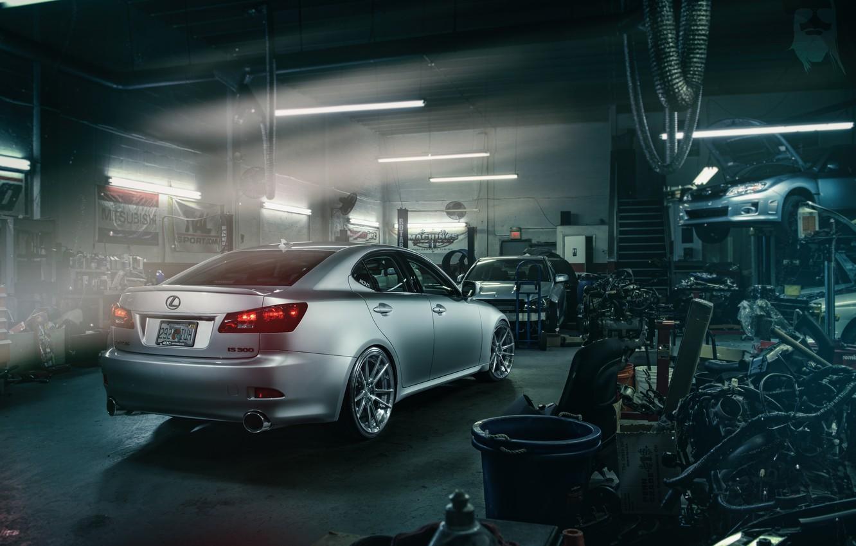 Photo wallpaper Lexus, Subaru, Impreza, workshop, nodes, spare parts, silvery, lift, IS 250