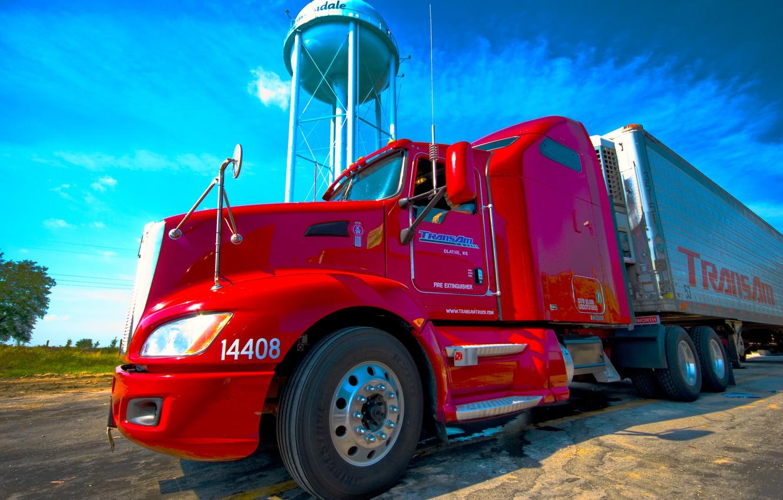 Photo wallpaper red, truck, Kenworth