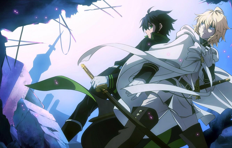Photo wallpaper guys, swords, anime, art, Owari no Seraph, Yuuichirou Hyakuya, Michaela Hyakuya