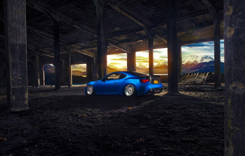 Photo wallpaper Subaru, Car, Blue, Sun, Mountain, Sport, BBS, BRZ, Wheels, Rear, Stanceworks