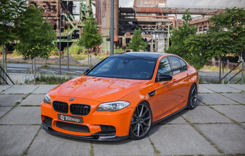 Photo wallpaper car, tuning, BMW, car, the front, orange, 3D Design