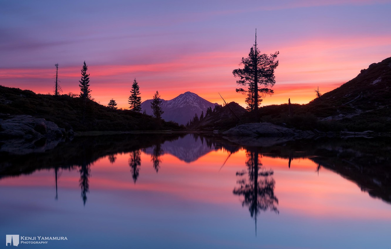 Photo wallpaper sunset, reflection, mountain, photographer, Heart Lake, Mount Shasta, Kenji Yamamura