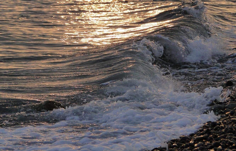 Photo wallpaper sea, wave, the evening, surf, Akela White
