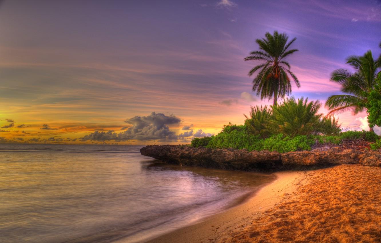 Photo wallpaper sea, beach, the sky, clouds, landscape, sunset, nature, colors, beach, sunrise, sky, sea, landscape, nature, …