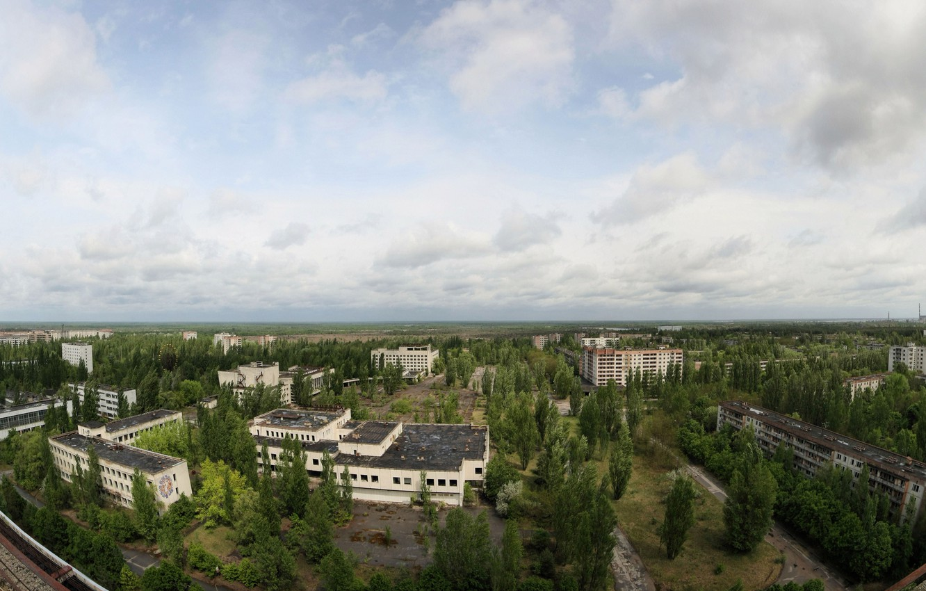Photo wallpaper roof, the sky, trees, Pripyat, apartments, a Ghost town