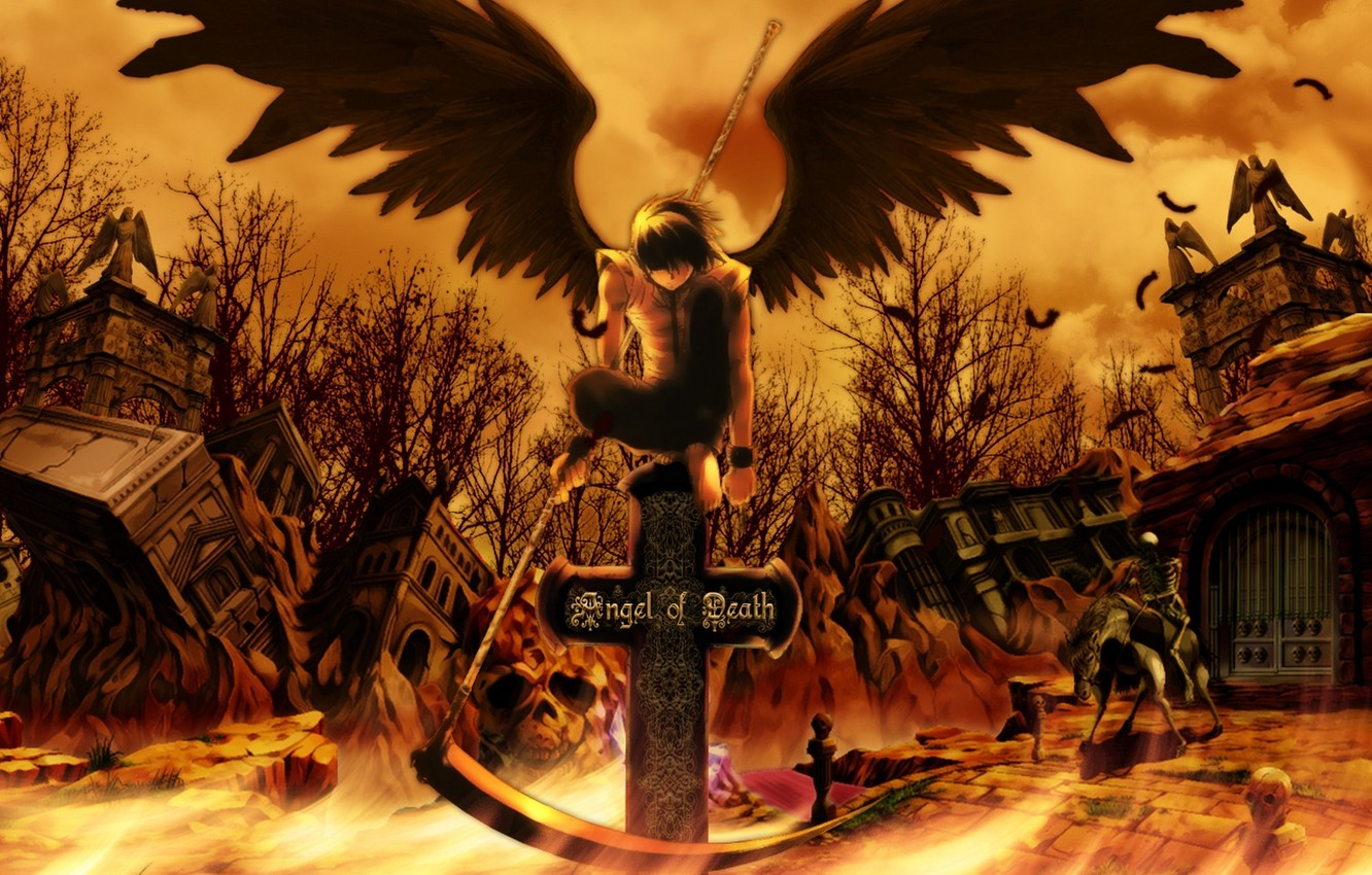 Photo wallpaper the sky, clouds, trees, weapons, horse, skull, wings, cross, anime, feathers, art, skeleton, braid, ruins, …