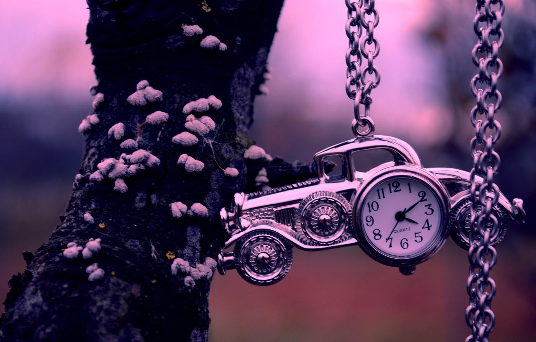 Photo wallpaper machine, tree, watch, chain, car