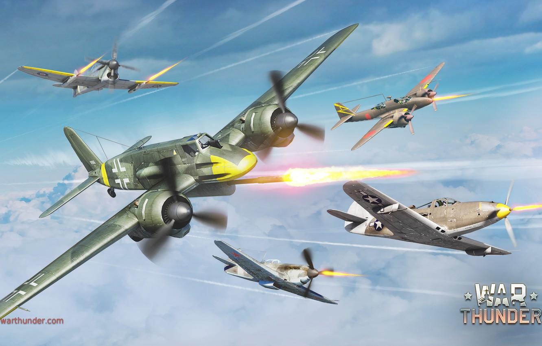 Photo wallpaper the sky, war, fighter, shooting, attack, Kawasaki, Art, American, British, Japanese, Bell, fighter-interceptor, German, Soviet, …