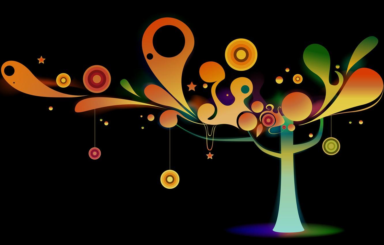 Photo wallpaper decoration, circles, tree, vector, color