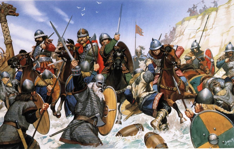 Photo wallpaper the sky, water, birds, shore, figure, battle, art, swords, shields, axes, spears, the Vikings, the …