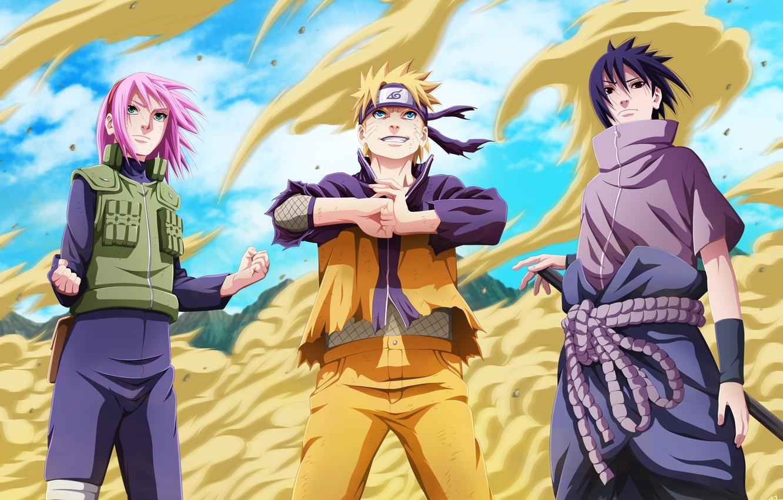 Photo wallpaper sand, girl, joy, mood, anger, indifference, guys, Naruto, Naruto, art, uchiha sasuke, Uzumaki naruto, haruno …