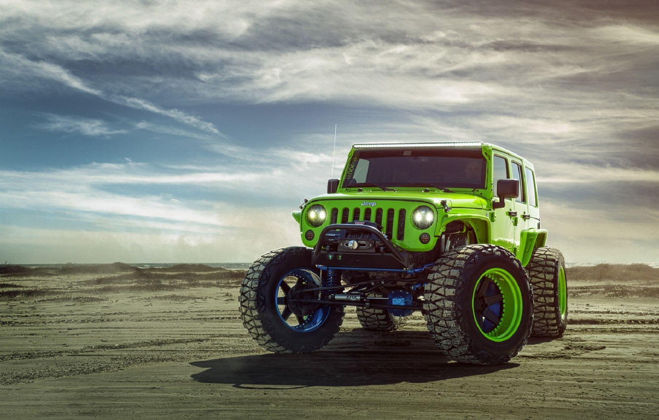 Photo wallpaper Green, Front, Forged, Custom, Wrangler, Jeep, Wheels, Track, ADV1, Function