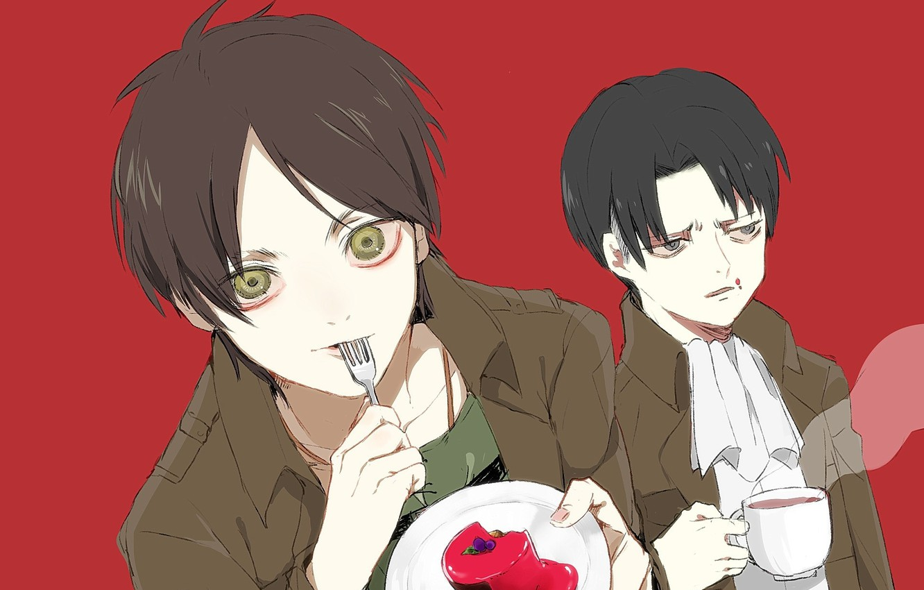 Wallpaper Emotions Cup Cake Plug Guys Two Red Background Fan Art Shingeki No Kyojin Eren Yeager Levi Ackerman Images For Desktop Section Prochee Download
