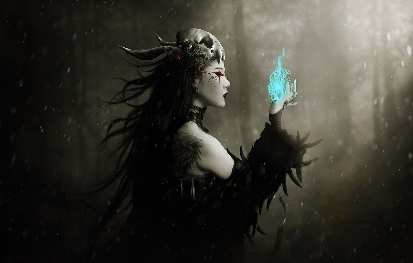 Photo wallpaper forest, girl, magic, skull, feathers, tattoo, art, profile, witch