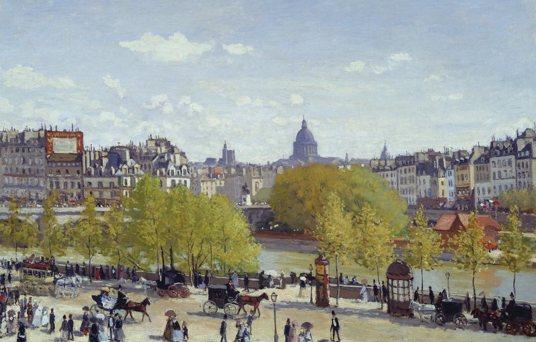 Photo wallpaper Paris, picture, the urban landscape, Claude Monet, Quay Of The Louvre
