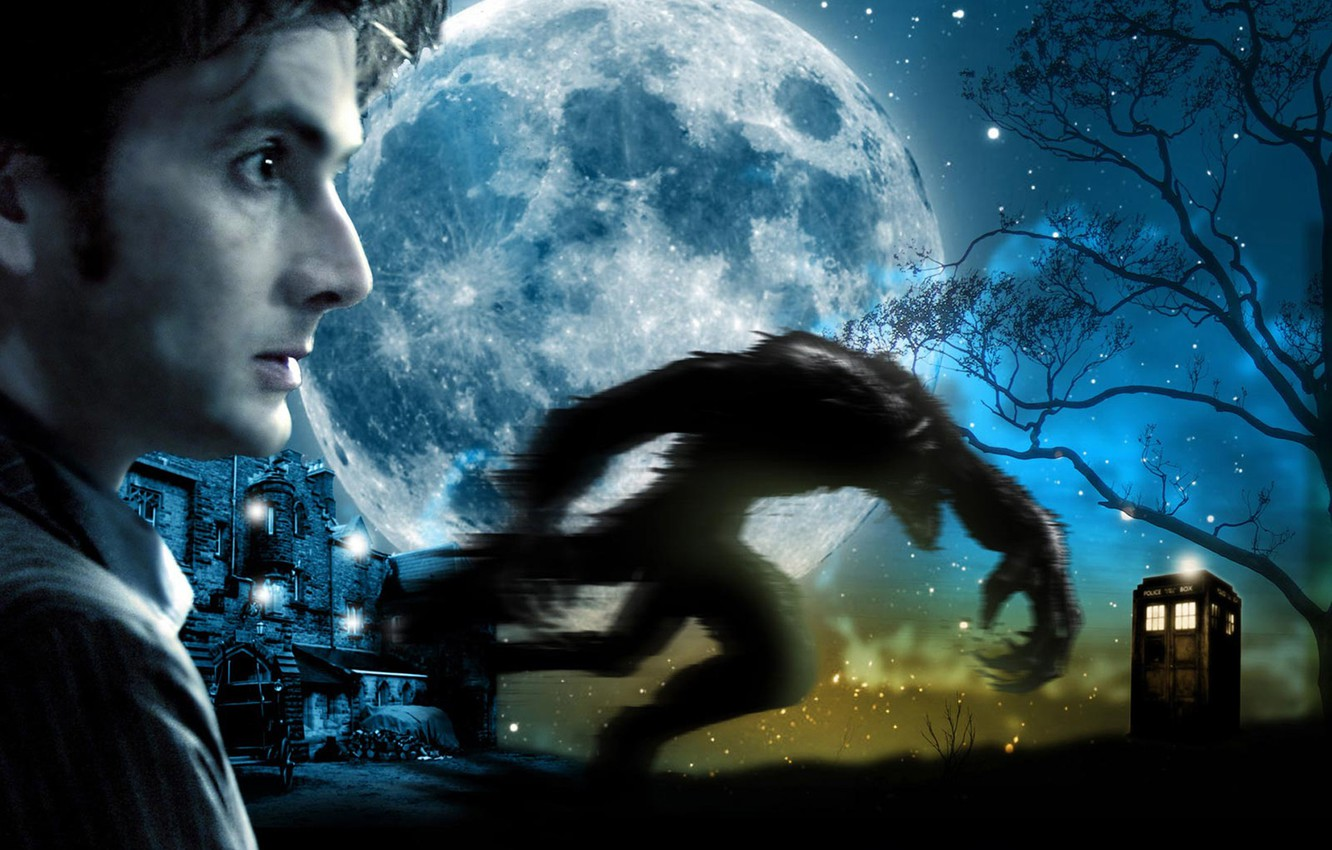 Photo wallpaper stars, night, face, tree, the moon, monster, actor, profile, male, booth, beast, werewolf, Doctor Who, …