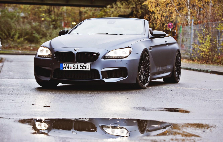 Photo wallpaper Auto, Black, BMW, Machine, Convertible, Puddle, Lights, Matt, The front, Overcast, BBM Motorsport