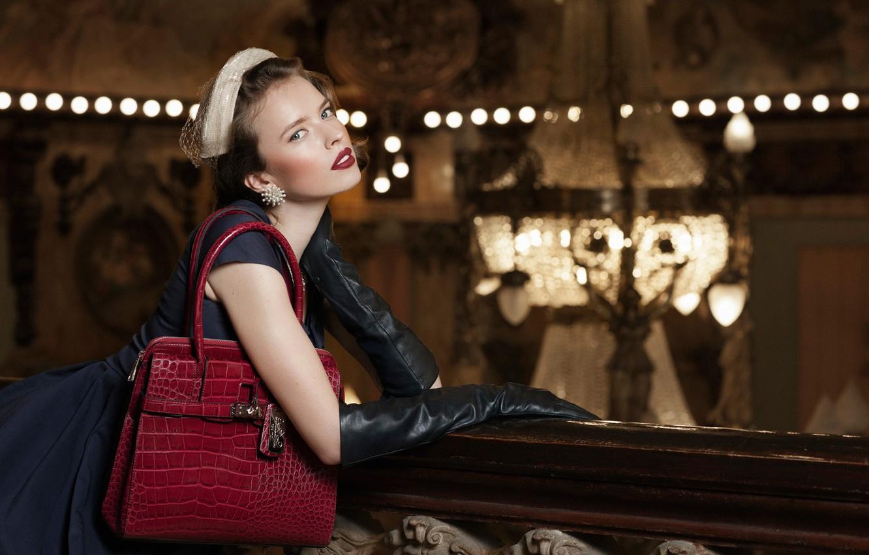 Photo wallpaper model, leather, makeup, gloves, handbag, vintage, Magda Mayer