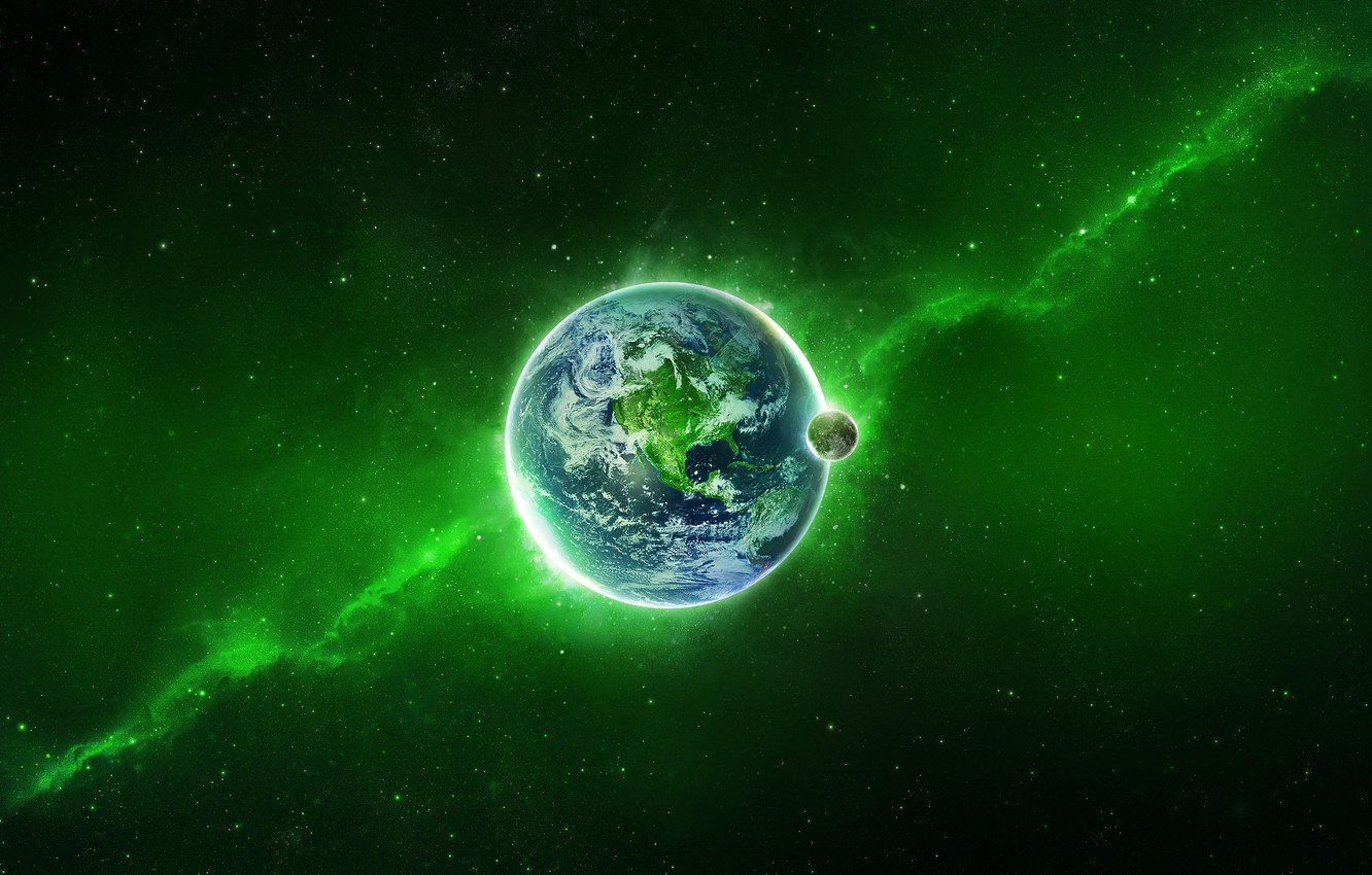 Photo wallpaper Planet, Space, Earth, Stars, Green, The Milky Way, Glow