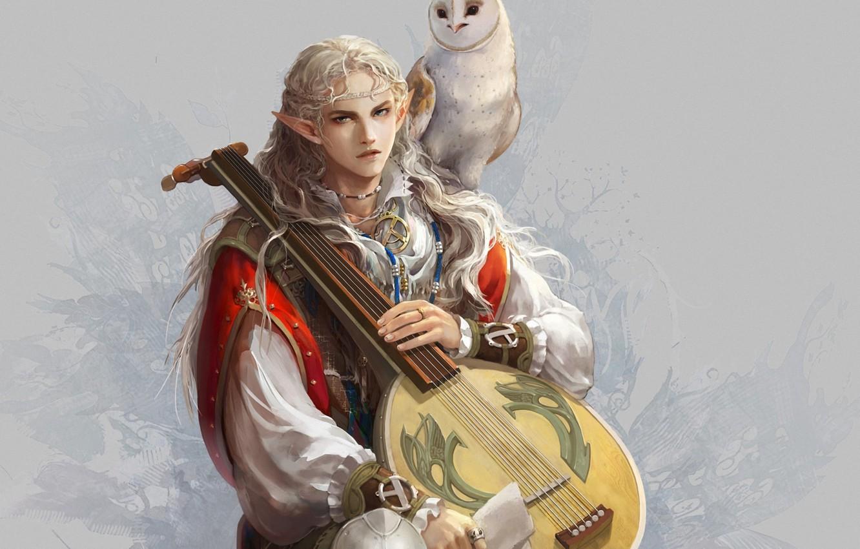 Photo wallpaper owl, bird, elf, art, guy, ears, bard, lute