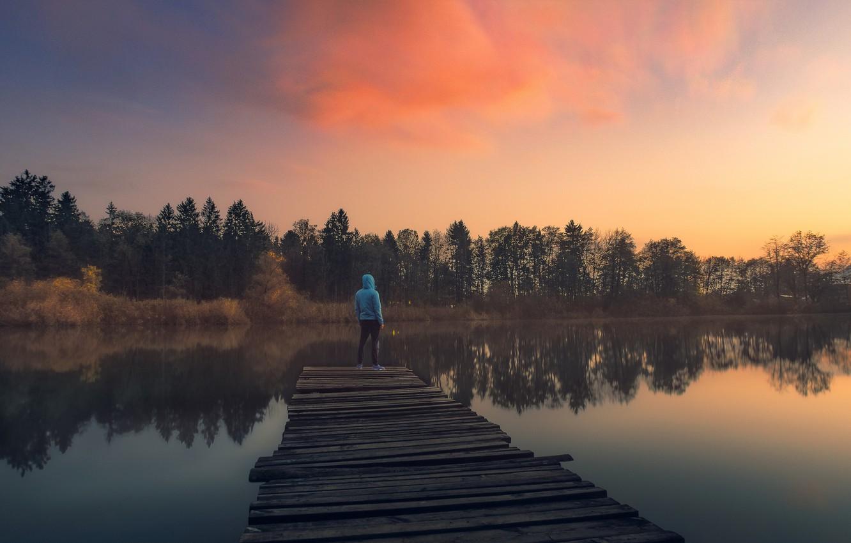 Photo wallpaper twilight, trees, sunset, clouds, lake, man, dusk, reflection, pier, lakeshore