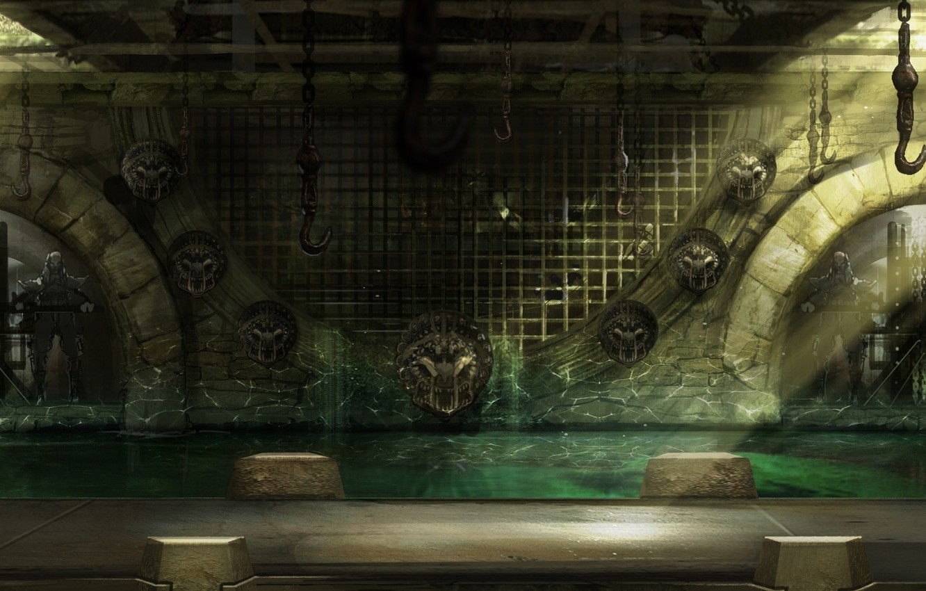 Photo wallpaper acid, water, scenery, mortal kombat, bars, hanging dead
