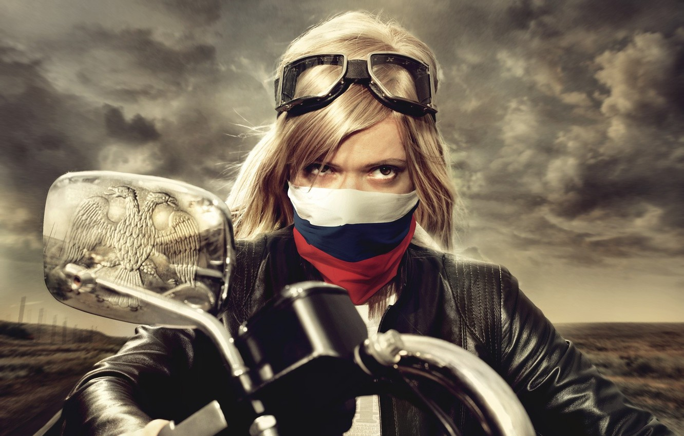Photo wallpaper blonde, Motorcycle, coat of arms, tricolor