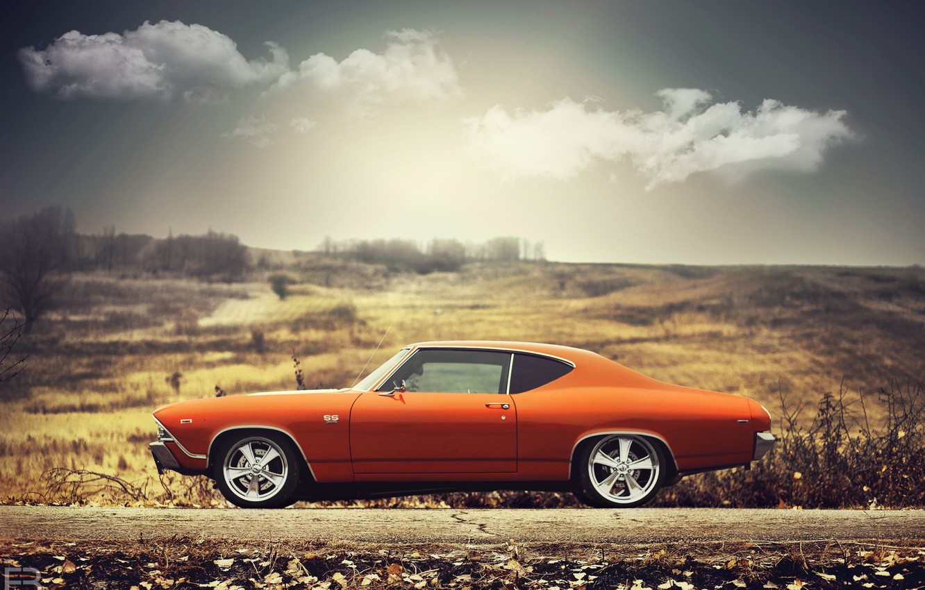 Photo wallpaper Chevrolet, 1969, Orange, Clouds, Sun, Chevelle, Sideview