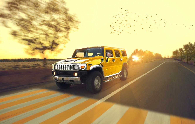 Photo wallpaper Speed, Hummer, Sun, Yellow, Road, Chrome