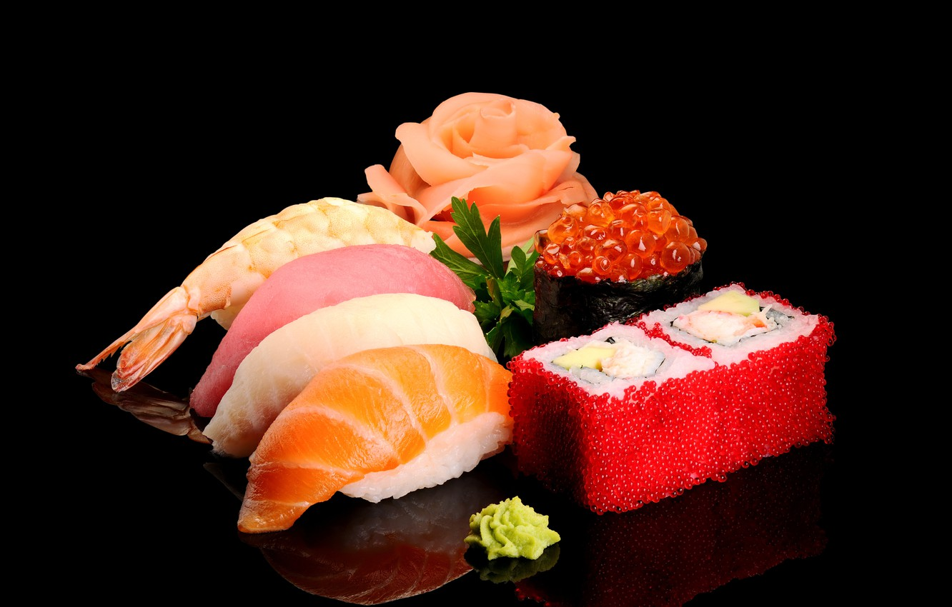 Photo wallpaper greens, fish, figure, black background, caviar, sushi, shrimp, seafood, wasabi, salmon, tuna