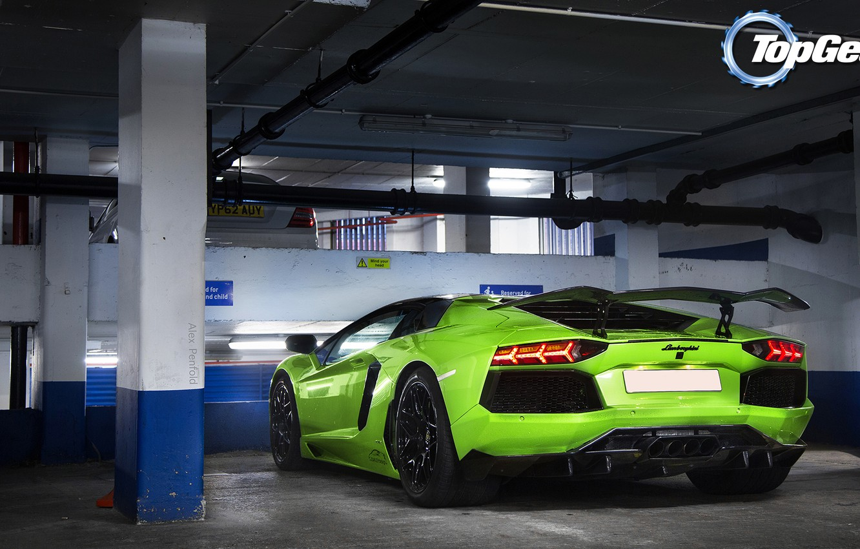 Photo wallpaper background, Lamborghini, Top Gear, Parking, rear view, Lamborghini, Aventador, the best TV show, top gear, …