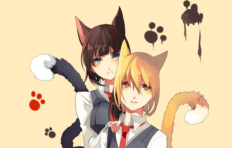 Photo wallpaper cat, girl, traces, legs, anime, neko, school uniform, ears, ponytail