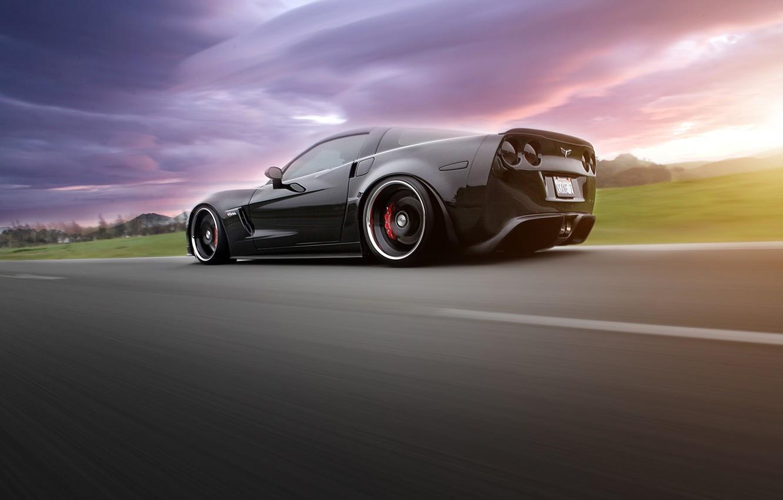 Photo wallpaper supercar, in motion, Corvette, chevrolet corvette