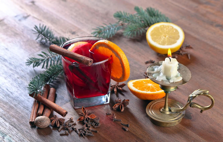 Photo wallpaper tree, hot, orange, candle, Christmas, New year, hot, cinnamon, background, orange, New Year, candle, cinnamon, …