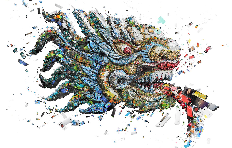 Photo wallpaper mosaic, dragon, technology, smartphones