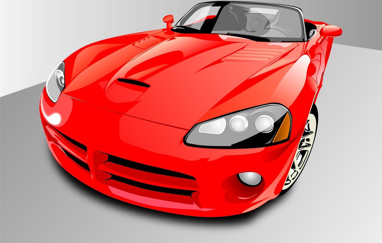 Photo wallpaper auto, red, vector