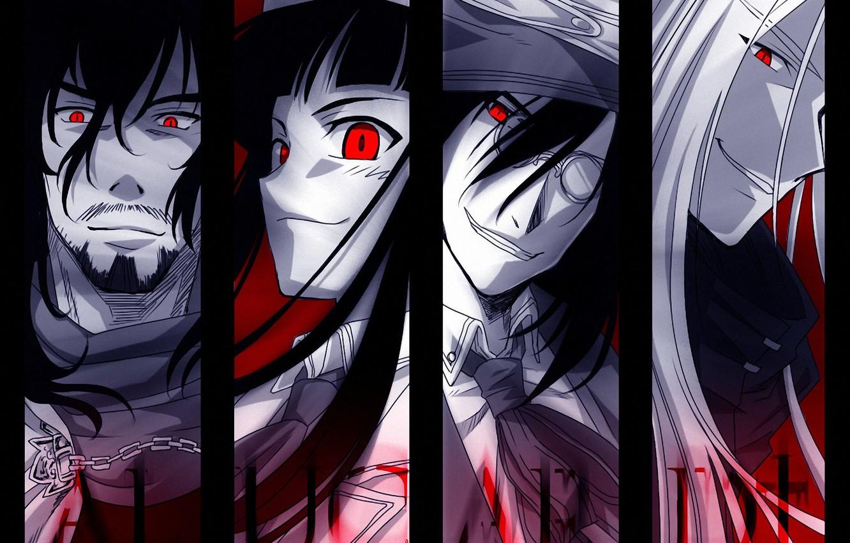 Photo wallpaper scarf, glasses, chain, tie, Anime, Alucard, Hellsing, anime, Integra, Helsing, Alukard, Lady Integra