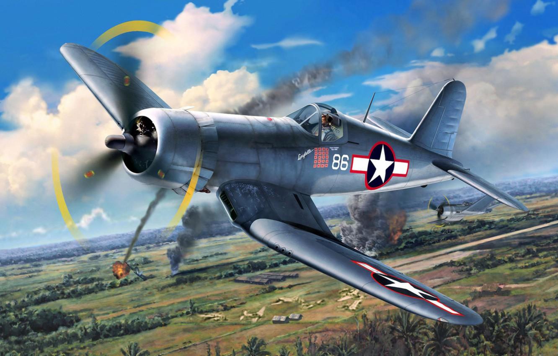 Photo wallpaper war, art, airplane, painting, aviation, ww2, Vought F4U Corsair