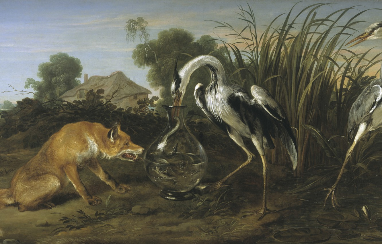 Photo wallpaper tale, Fox, painting, Art, crane, the Golden age