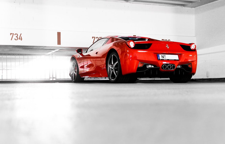 Photo wallpaper red, Parking, red, ferrari, Ferrari, Italy, 458 italia, back