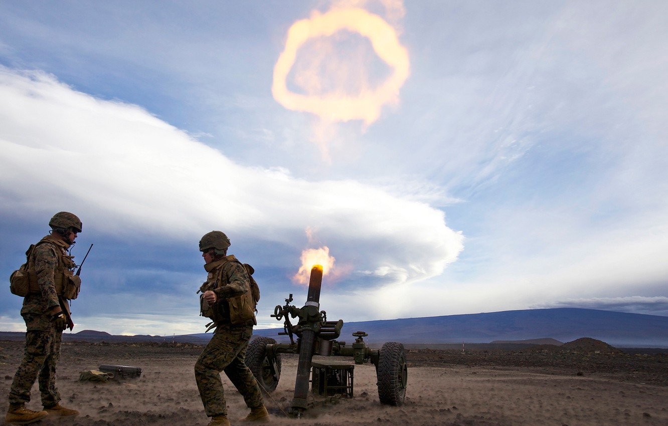 Photo wallpaper field, the sky, shot, soldiers, volley, mortar, Mortar