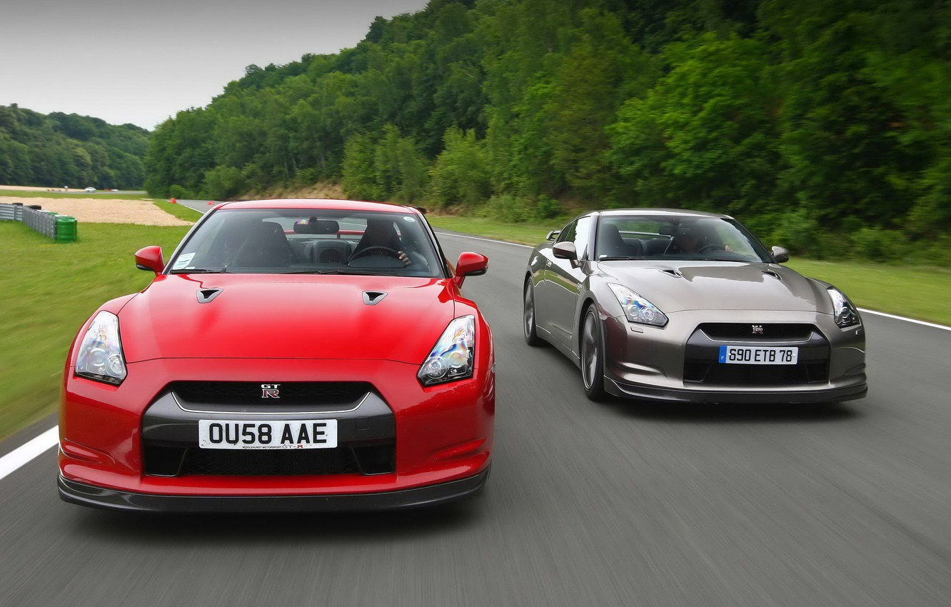 Photo wallpaper Red, Road, Sport, Nissan, Movement, Machine, Nissan, Red, GT-R, Track, Race, Race, Cars, Skyline, R35, …