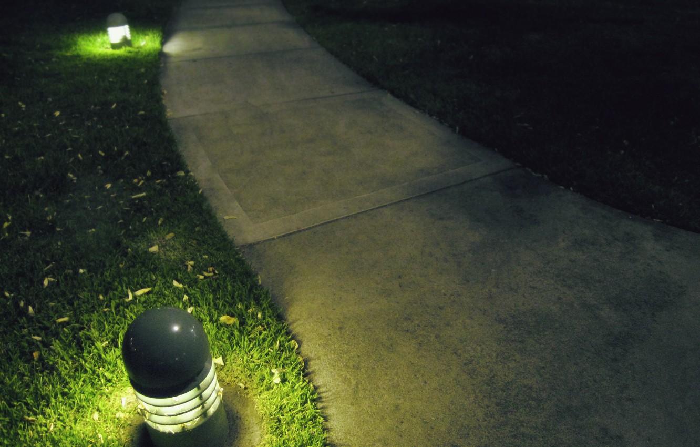 Photo wallpaper grass, lawn, lantern