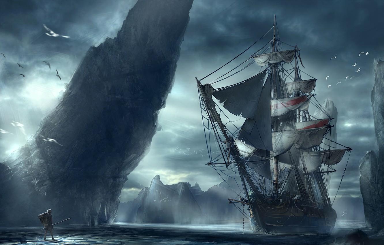 Photo wallpaper sea, landscape, people, ship, mountain, Discovery
