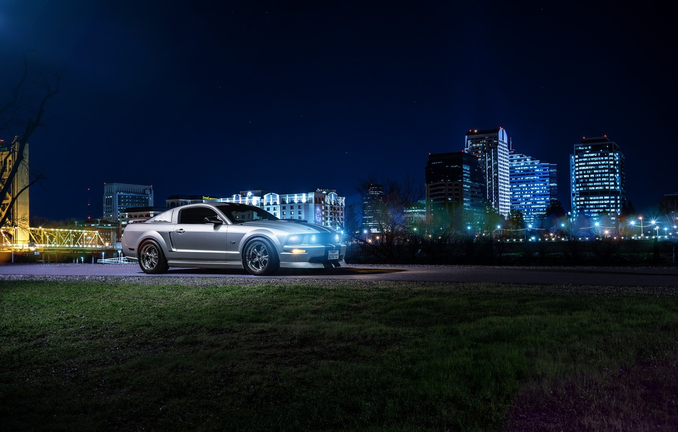 Photo wallpaper Mustang, Ford, Dark, Muscle, Car, Front, Downtown, American, Nigth