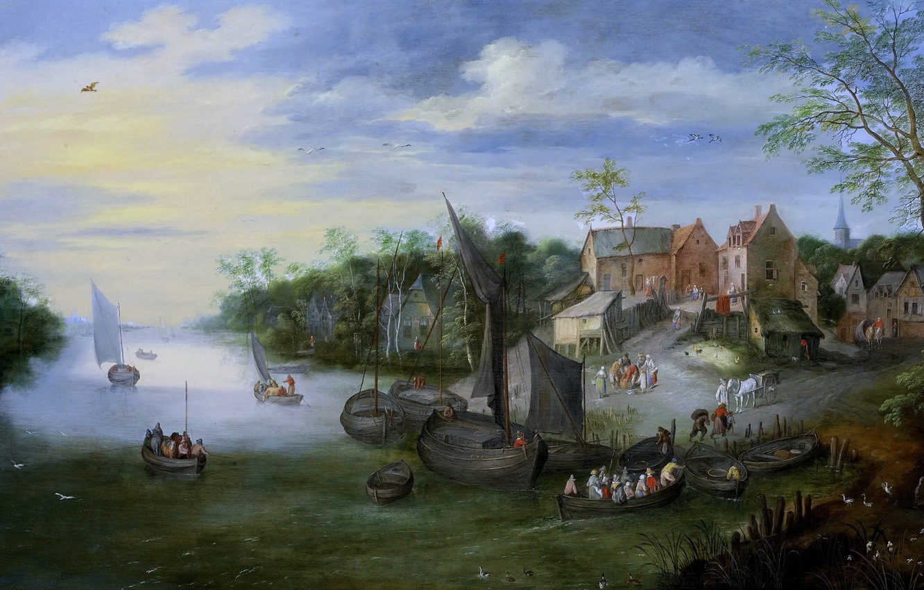 Photo wallpaper people, boat, home, picture, Jan Brueghel the younger, River Landscape with Village View