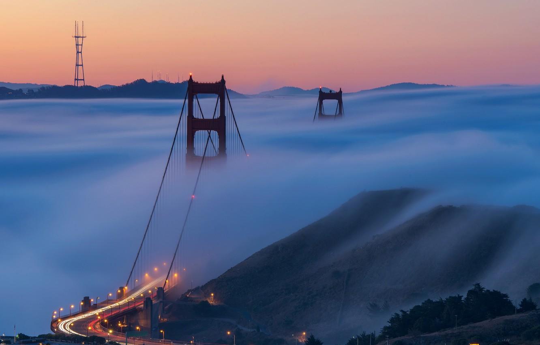 Photo wallpaper city, lights, USA, Golden Gate Bridge, road, landscape, bridge, photo, sunset, night, California, evening, San …